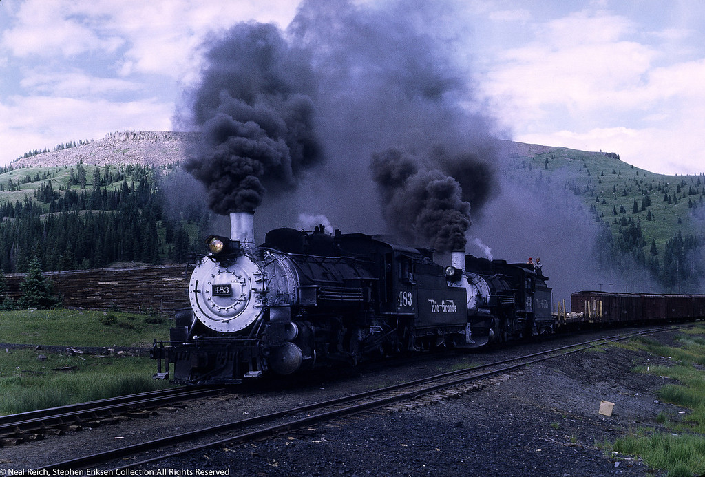 July 17, 1968 #483 and #493 double headed in Cumbres, CO.