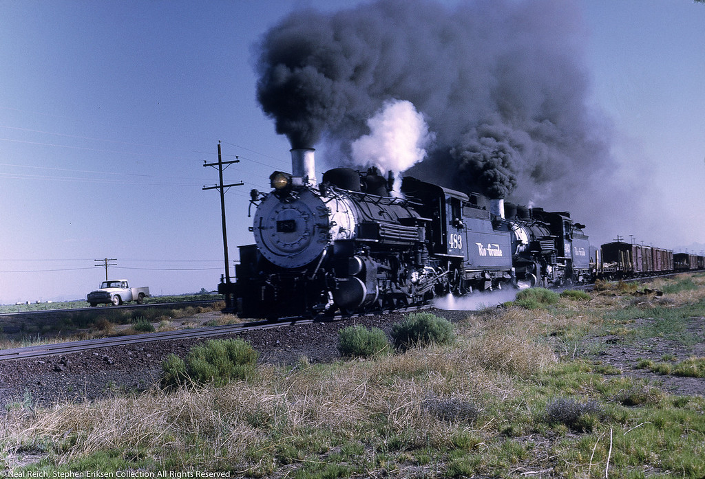 Great scene shot south of Alamosa, CO. on July 17, 1968 with #483 and #493.