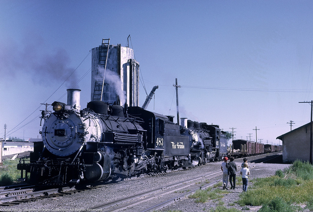 Lucky kids witness #483 and #493 double headed at La Jara, CO on July 17, 1968
