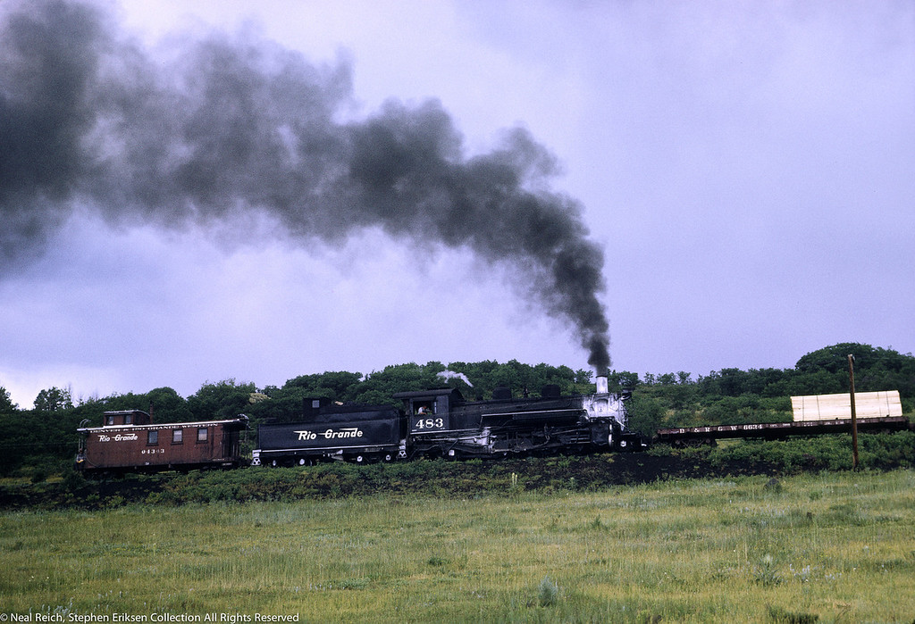 #483 and caboose #04343 at rear of freight train near Lobo Lodge, NM on July 18, 1968.