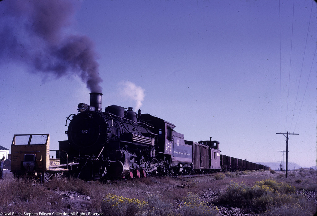 Check out the length of this train in Antonito, CO on September 18th of 1970.  K-36 #483 is at the head end of the train sporting red counterweights!