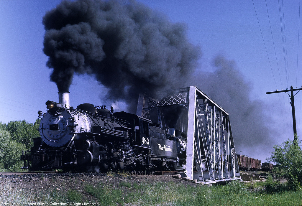 Double header consisting of #483 and #493 north of Antonito, CO., on July 17, 1968.