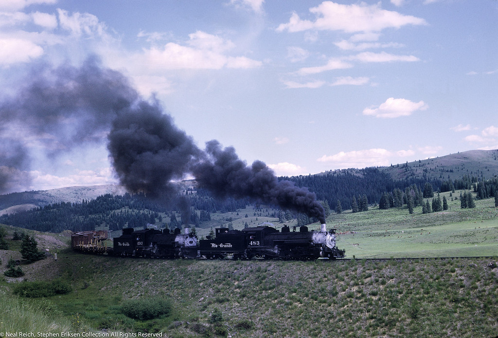 July 17, 1968 #483 and #493 Approaching Tanglefoot Curve near Cumbres, CO.