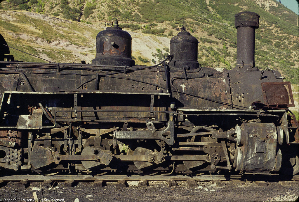 K-27 sits in poor condition in the Durango yards in this August 16, 1971 view.  Compare this to the restored condition of #464 on the Huckleberry Railroad today.